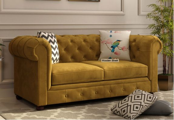 Henry 2 Seater Sofa (Velvet, Chestnut Brown)