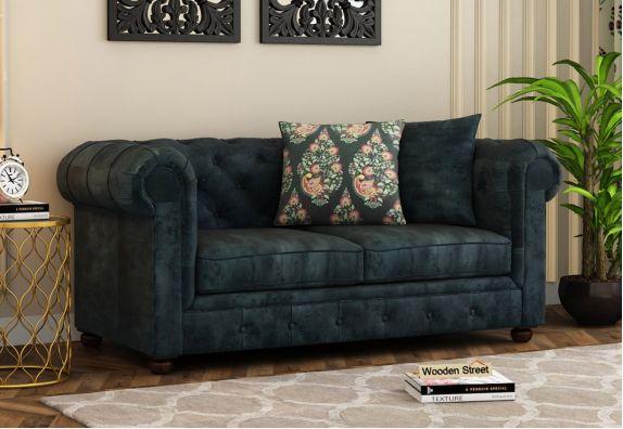 Henry 2 Seater Kids Sofa (Velvet, Textured Blue)