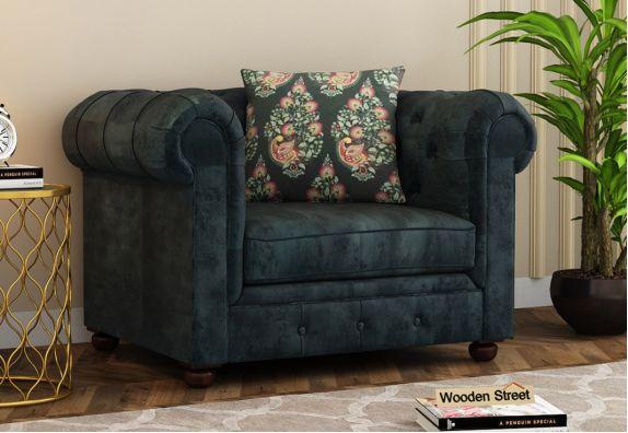 Henry 1 Seater Sofa (Velvet, Textured Blue)