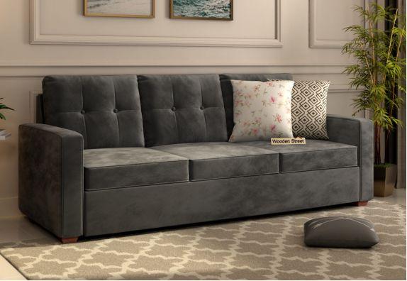 Premium Velvet Fabric Finish Nicolas 3 Seater Sofa in Graphite Grey Colour