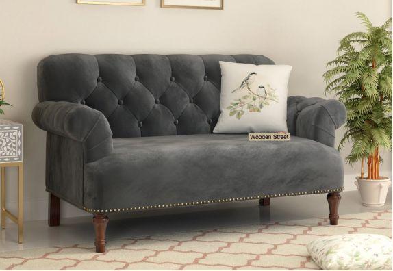 Parker 2 Seater Sofa (Velvet, Graphite Grey)