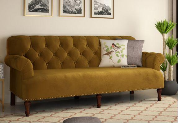 Beautiful Fabric Sofa: Parker 3 Seater Sofa (Velvet, Chestnut Brown)
