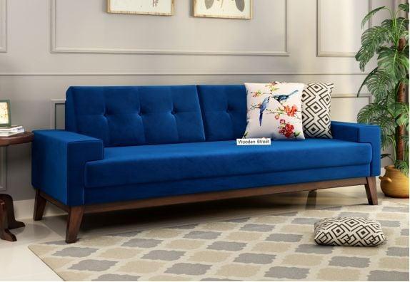 Buy Indigo Blue Velvet 3 Seater Fabric Sofa Online in India