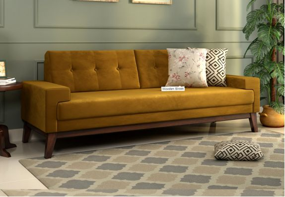 Buy 3 Seater Velvet Fabric Couch Online in Brown Color