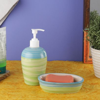 Green and Blue Ananda Ceramic Soap Dispenser with Soap Dish