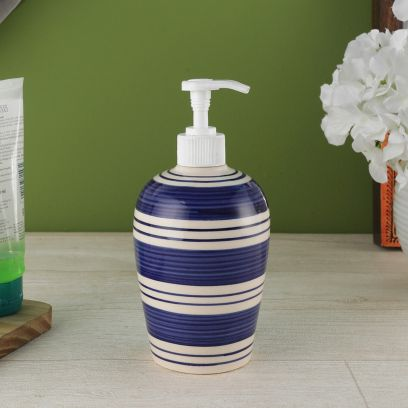 Indigo Blue Stripes Ceramic Soap Dispenser