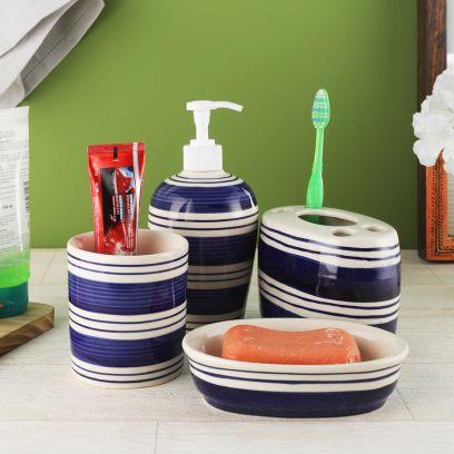 Indigo Blue Stripes Ceramic Soap Dispenser Set