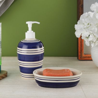 Indigo Blue Stripes Ceramic Soap Dispenser with Soap Dish