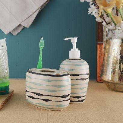 Off-White Ceramic Soap Dispenser with Brush Holder