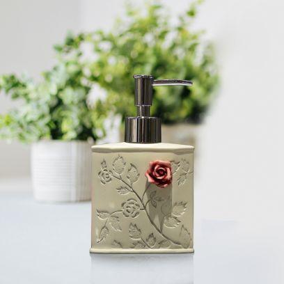 White Flora Polyresin Liquid Soap Dispenser