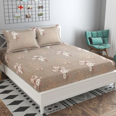 Brown Colour Flower and Leaf Printed 144 TC Cotton Double Bedsheet with Two Pillow Covers