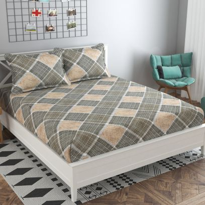 Grey and Beige Colour Abstract Print 144 TC Cotton Double Bedsheet with Two Pillow Covers