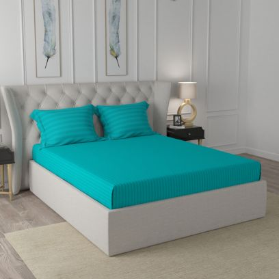 Aqua Turquoise Self Design King Size Cotton Double Bed with 2 Pillow Covers