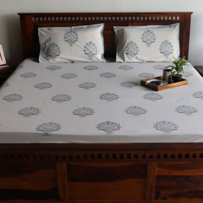 Beige Base Blue Motifs Hand Block Printed Double Bed Sheet with Pillow Covers