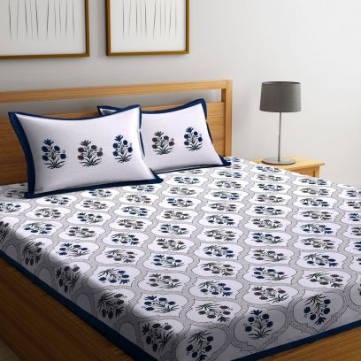 Shop Online Floral King Size Bed Sheet With Pillow Covers
