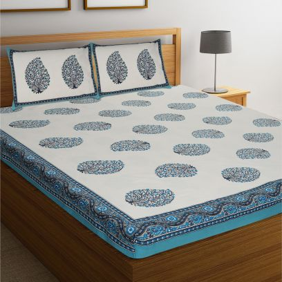 Blue and White Rajasthani Jaipuri Cotton Block Print Double Bed Sheet With Pillow Covers