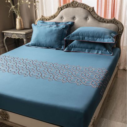 DDecor Live Beautiful Blue Pacific Excellence Embroidered Double Bed Sheet with 2 Pillow Covers