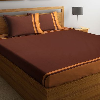 Brown Cotton Super King Size Bed Sheet with 2 Pillow Covers
