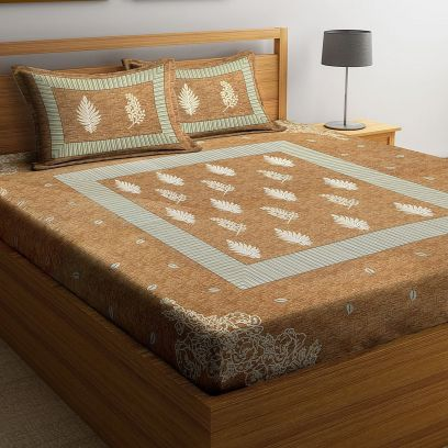 Brown Screen Block Print Double Bed Sheet With Pillow Covers