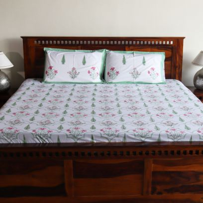 Duo tone Cyrus and Floral Hand Block Printed Contrast Double Bed Sheet with Pillow Covers