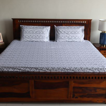 Cotton King Size Bed Sheets with Pillow Covers