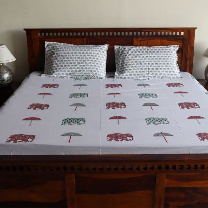 Elephant and Umbrella Jaipuri Contrast Hand Block Printed Double Bed Sheet with Pillow Covers