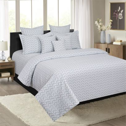 Grey and White Geometric Design 210 TC Double Bedsheet With Two Pillow Covers