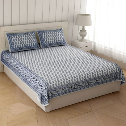 Navy Blue Charming Paisley Cotton Double Bed Sheet With Pillow Covers
