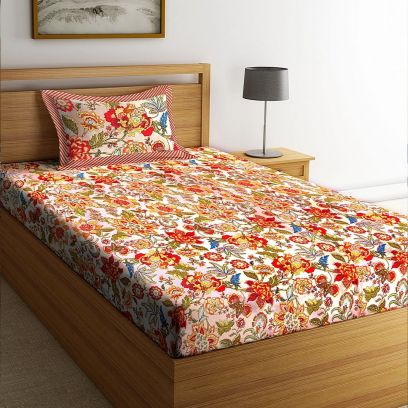 Buy Single Cotton Bed Sheets with Pillow Cover Online