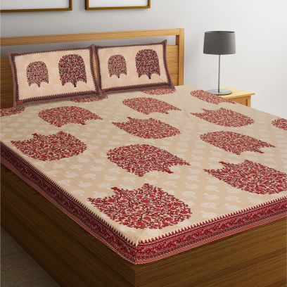 Peach and Red Rajasthani Jaipuri Cotton Block Print Double Bed Sheet With Pillow Covers