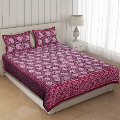 Pink 100% Cotton King Size Bedsheet with 2 Zip Pillow Covers