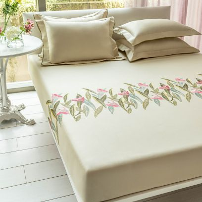 DDecor Live Beautiful Pink Wild Rose Excellence Embroidered Double Bed Sheet with 2 Pillow Covers