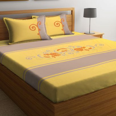 Purple and Yellow Embroidered Super King Size Bed Sheet with 2 Pillow Covers