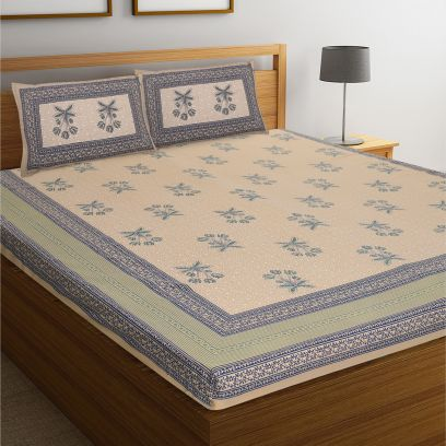 Rajasthani Block Print Jaipuri Cotton Double Bed Sheet With Pillow Covers