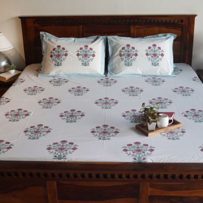 Rose Hedge Hand Block Print Double Bed Sheet With Pillow Covers