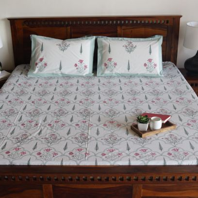Scarlet Pines Hand Block Print Double Bed Sheet With Pillow Covers