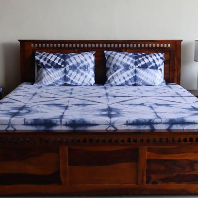 Tie and Die Indigo Contrast Double Bed Sheet with Pillow Covers