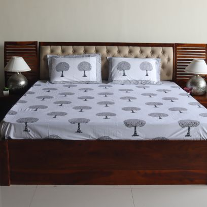 Tree Motifs Hand Block Printed White Double Bed Sheet with Pillow Covers