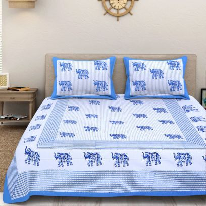 White and Blue Sanganeri Print Double Bed Sheet With Pillow Covers