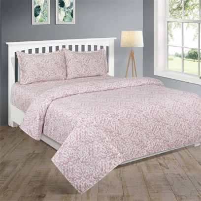 White and Pink Floral Design 210 TC Double Bedsheet With Two Pillow Covers