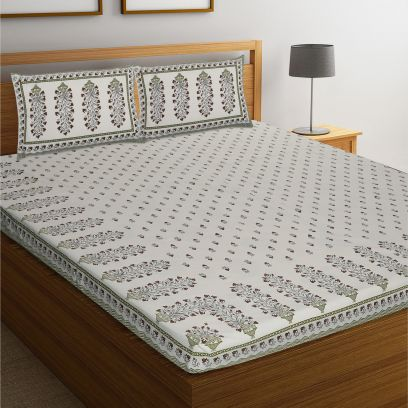 White Rajasthani Jaipuri Block Print Cotton Double Bed Sheet With Pillow Covers