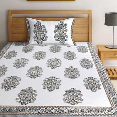 White Screen Print Jaipuri Single Bed Sheet With Pillow Cover