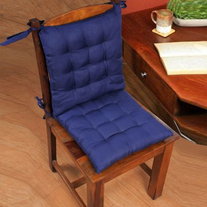 Blue Square Satin and Cotton Filled Chair Pads - Set of 2 (15 X 15 Inch)