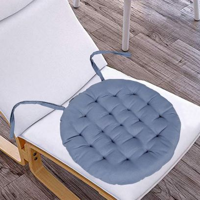 Grey Satin and Cotton Filled Chair Pad - Set of 2 (15 X 15 Inch)