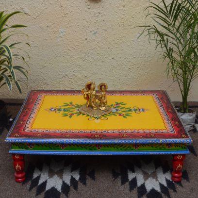 Decorative Yellow Wooden Chowki