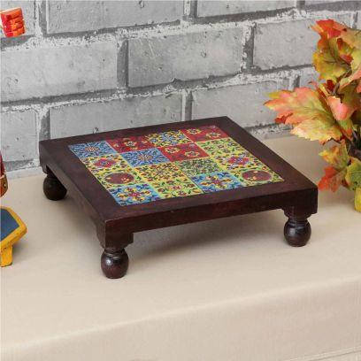 Wooden Tiles Chowki in Multicolour