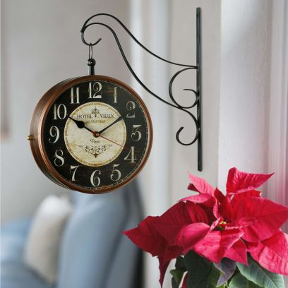 Keeratly Copper Finish Retro Double Side Railway Clock