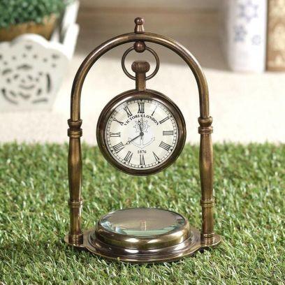 Brown Brass Table Clock