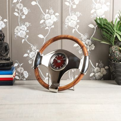 F1 Racing Table Clock with Natural Sheesham Wood