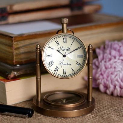 Keeratly Antique Brass Table Clock with Navigation Compass